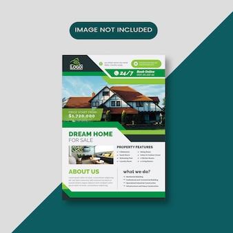 Accueil à vendre flyer d'affaires avec résumé vert