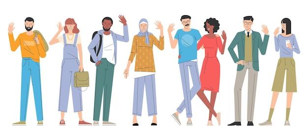 Accueillir les gens en agitant la main. ensemble de vecteurs de conception plate de personnages divers de jeunes hommes et femmes.