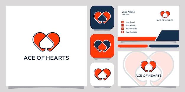 Ace coeurs logo icône symbole modèle logo et carte de visite