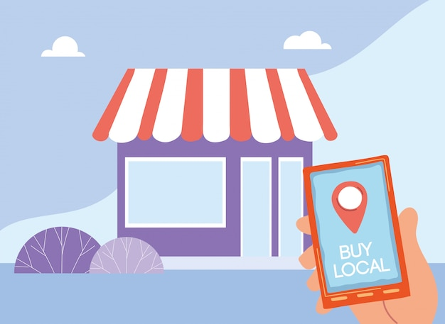 Achat dans les commerces locaux par application mobile
