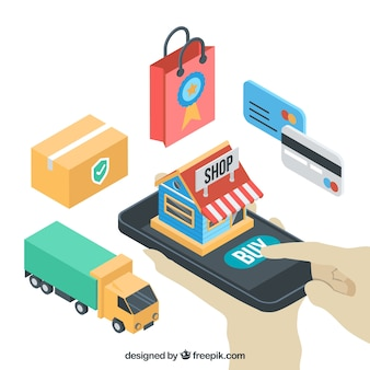 Achat en commerce électronique en style isométrique