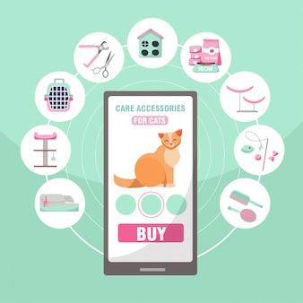Achat en ligne d'accessoires pour animaux domestiques pour chats. 9 catégories de marchandises pour les chats: pinces, nourriture, maisons, griffoir, brosse, toilettes, transport, jouets, illustration de vecteur plat dessin animé