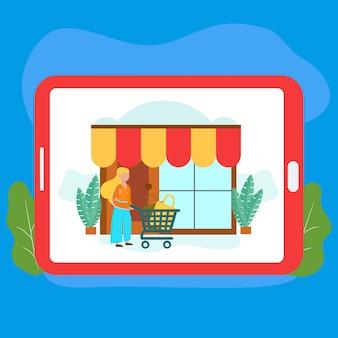 Achat En Ligne Et Illustration De Magasin Pour Site Web