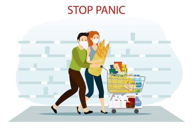 Achat de panique de coronavirus. couple, courant, plein, charrette, supermarché arrêtez la panique