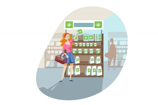 Achat, produit cbd, cannabis, concept de magasinage de marijuana
