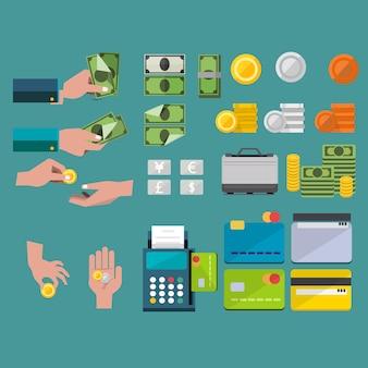 Achat et vente avec le jeu d'icônes d'argent