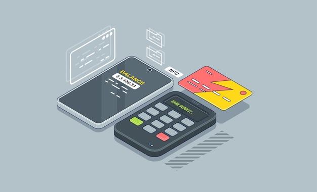 Achat via le terminal de point de vente. payez par carte de crédit sans fil.
