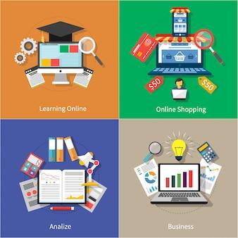 Achats en ligne, analize et icônes modernes d'affaires définies sur quatre bannières multicolores