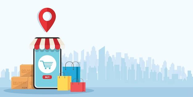 Achats en ligne sur application et concept mobile