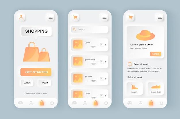 Achats en ligne application mobile d'interface utilisateur de conception neumorphique moderne