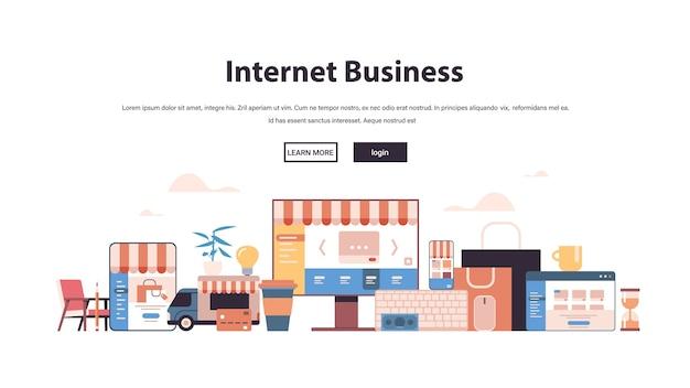 Achats en ligne application web internet business icons set e-commerce marketing numérique concept copie espace