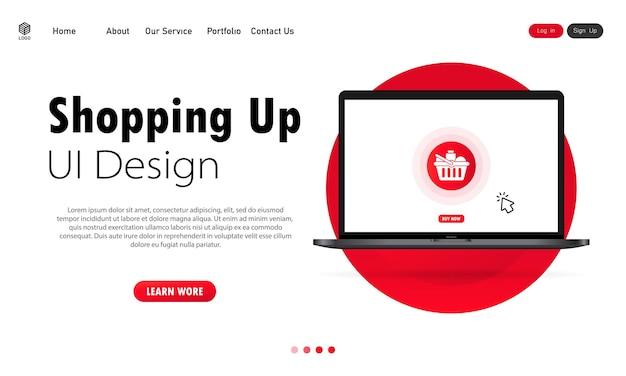 Achats en ligne sur la bannière d'ordinateur portable. achat de marchandises en ligne à la maison concept. vecteur sur fond blanc isolé. eps 10.