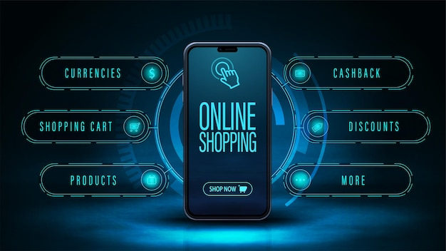 Achats en ligne, bannière web numérique sombre et bleue avec interface smartphone et hologramme autour