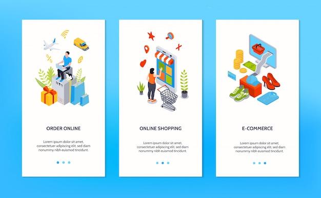 Achats en ligne bannières verticales avec des personnes commandant des marchandises en ligne par internet isométrique