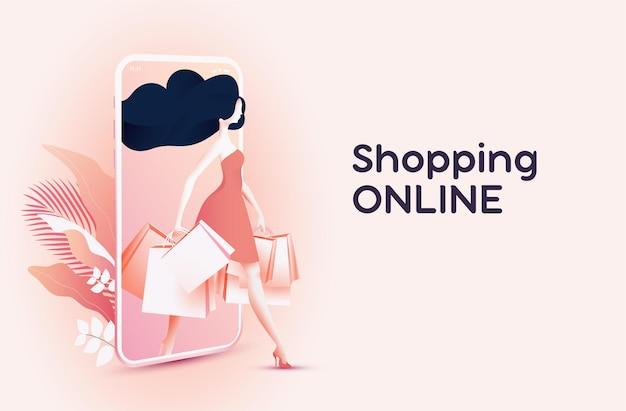 Achats en ligne ou concept de bannière de boutique en ligne avec jolie femme