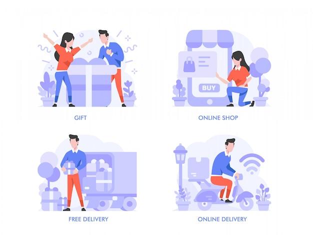 Achats en ligne ou concept de commerce électronique dans un style design plat. sac à provisions, panier, troli, cadeau, prix, livraison en ligne, livraison gratuite, paiement en ligne, boutique, illustration de magasin