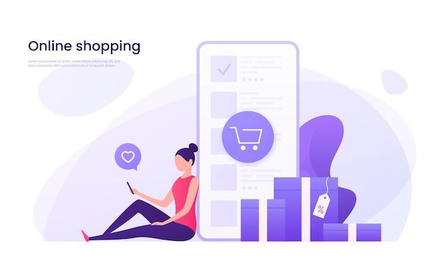 Achats en ligne, concept de marketing mobile.