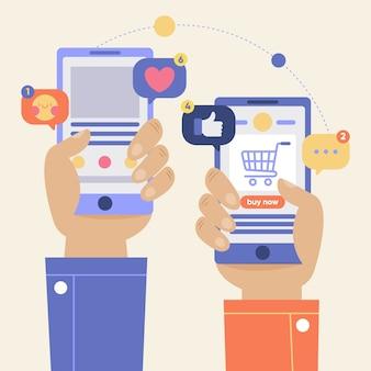 Achats en ligne et concept de médias sociaux