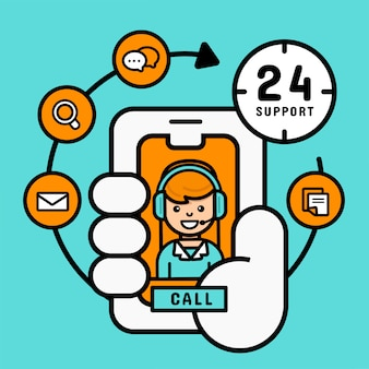 Achats en ligne sur le concept mobile, support du service clientèle féminin depuis un mobile pour entreprise, illustration vectorielle moderne