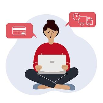 Achats en ligne la femme est assise avec un ordinateur portable l'acheteur commande le produit en ligne insatisfait