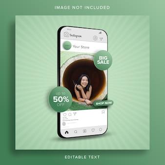 Achats en ligne grande vente sur le concept d'application mobile de publication de médias sociaux