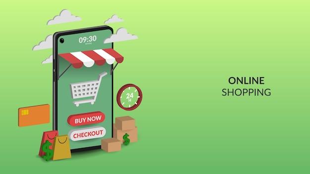 Achats en ligne sur illustration mobile pour le commerce électronique d'applications web et mobiles
