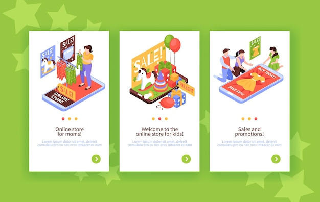 Achats en ligne isométriques avec un ensemble de bannières web pour enfants