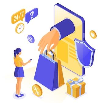 Achats en ligne isométriques, livraison, concept logistique.