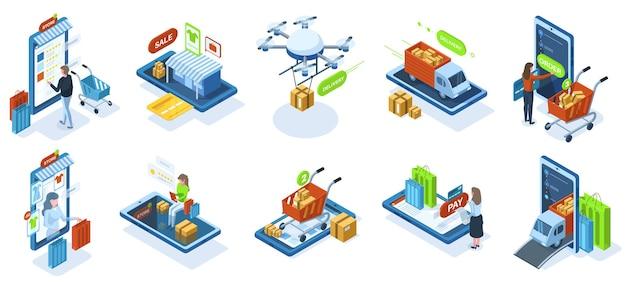 Achats en ligne isométriques, paiement d'achat en ligne. clients du marché des boutiques en ligne, ensemble d'illustrations vectorielles de la technologie de paiement de la boutique en ligne. caractères d'achat de commerce électronique