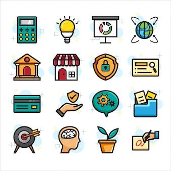 Achats en ligne, jeu d'icônes de commerce électronique