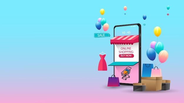 Achats en ligne sur le marketing de concept d'application mobile et le numérique