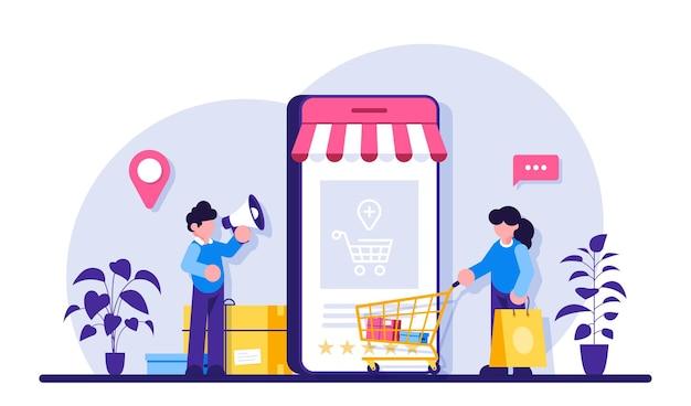 Achats en ligne mobiles. marketing et marketing numérique. boutique de personnages de personnes plates.