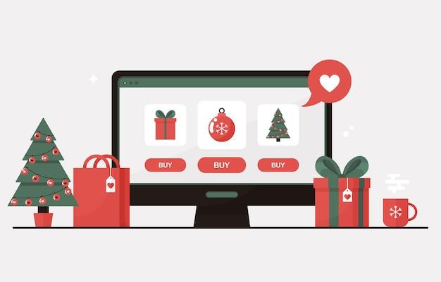 Achats en ligne de noël sur un ordinateur avec arbre de noël, coffrets cadeaux, cadeaux et décorations pour les soldes d'hiver