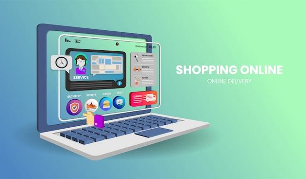 Achats en ligne avec ordinateur pour bannière