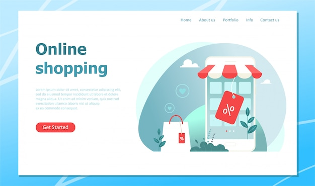Achats en ligne, page de destination avec illustration de concept. illustration dans un style plat.