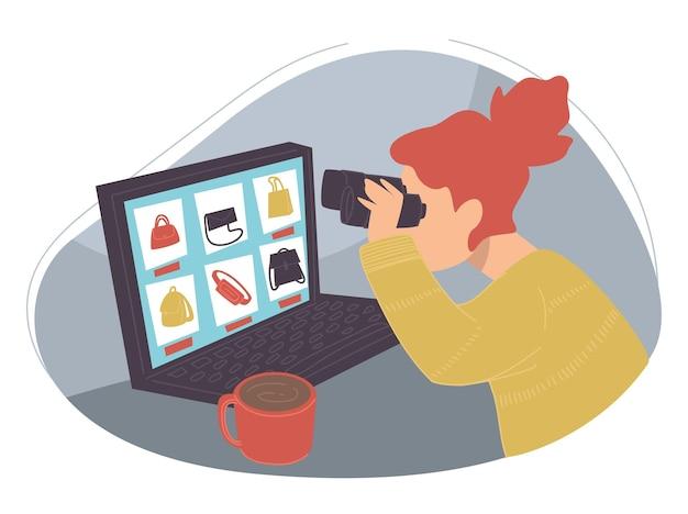 Achats en ligne et recherche de produits au meilleur prix. femme isolée à la recherche de soldes et de réductions sur les vêtements et accessoires. acheter des marchandises à la maison, un ordinateur portable et une tasse de café. vecteur à plat