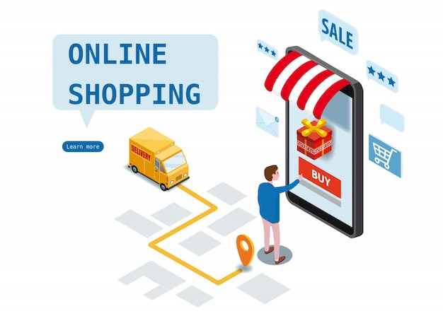 Achats en ligne, service de livraison express, service de courrier. conception isométrique