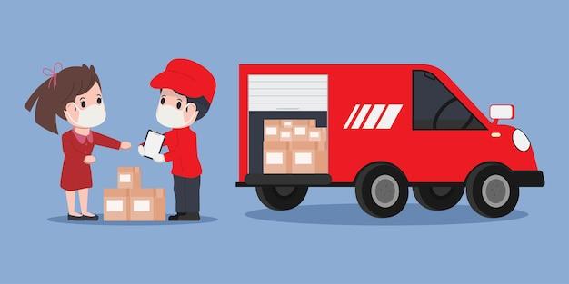 Achats en ligne et service de livraison pendant covid-19.
