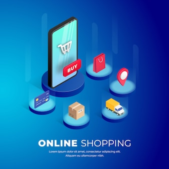 Achats en ligne sur site web ou application mobile.