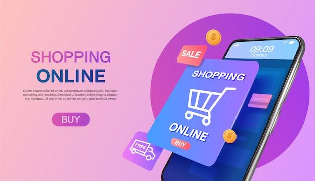 Achats en ligne sur le site web ou le concept marketing de page de destination d'application mobile et le marketing numérique