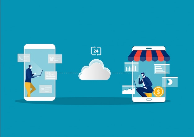 Achats en ligne sur le site web avec les magasins en ligne et le commerce électronique.