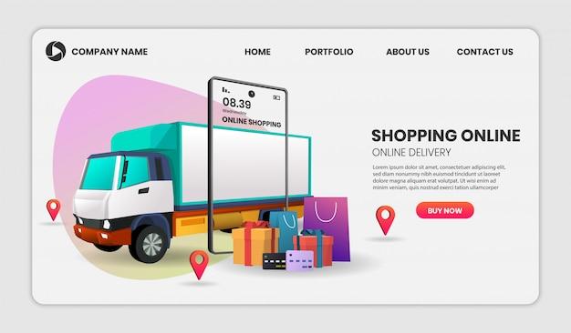 Achats en ligne sur site web ou mobile avec illustration 3d de l'application de camion pour la page de destination