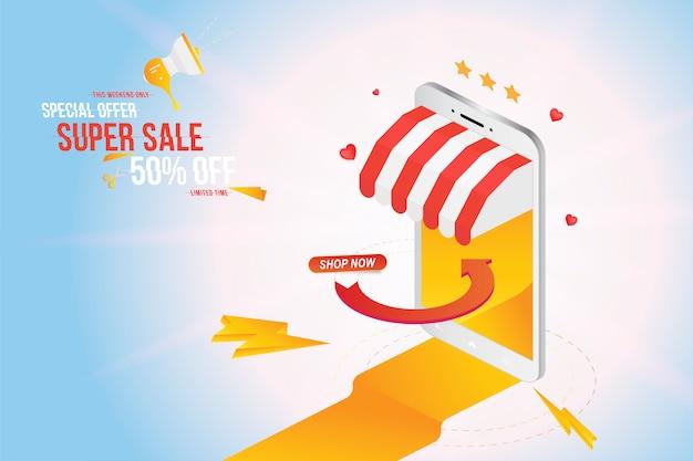 Achats en ligne sur smartphone avec bannière d'offre super sale 50%