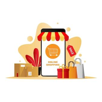 Achats en ligne de téléphone mobile de concept de vecteur de commerce mobile