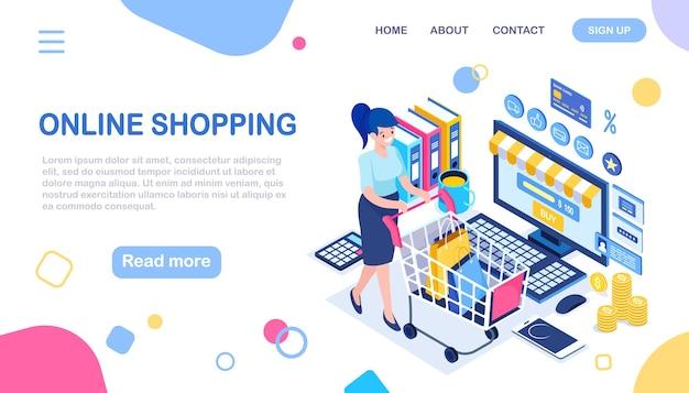 Achats en ligne, vente. achetez en magasin par internet. femme isométrique avec panier, chariot