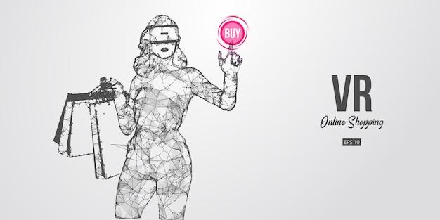 Achats en ligne vr. femme polygonale, fille portant des lunettes de réalité virtuelle. belle femme heureuse et élégante avec des sacs à provisions, achetez un produit en un clic. casque vr filaire holographique