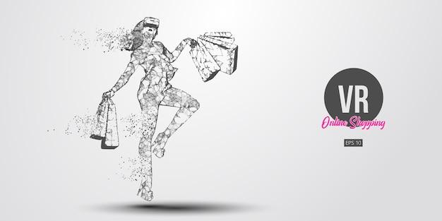 Achats en ligne vr. femme polygonale, fille portant des lunettes de réalité virtuelle. belle femme heureuse saute avec un sac à provisions, achetez un produit en un clic. casque vr filaire holographique