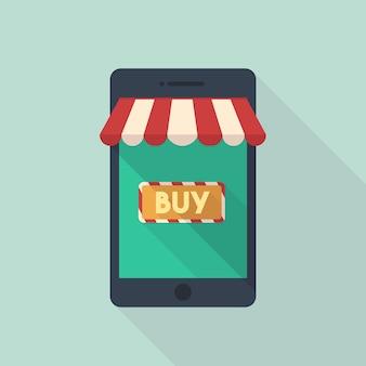 Achats mobiles en ligne sur le vecteur de smartphone