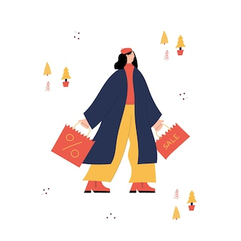 Achats de noël avec personnage de jeune femme portant des sacs de vente de noël avec des achats