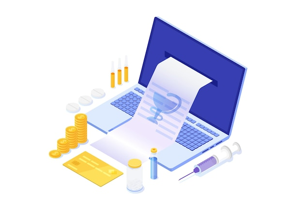 Achats de pharmacie en ligne isométrique